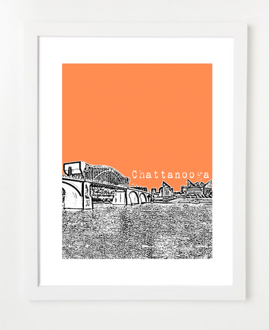 Chattanooga Tennessee Skyline Art Print and Poster | By BirdAve Posters