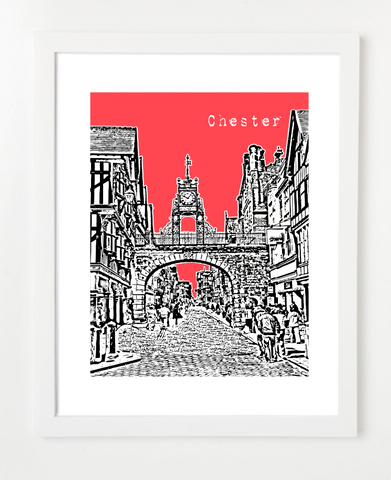 Chester England Europe Posters and Skyline Art Prints | By BirdAve