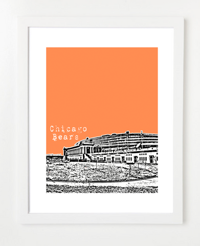 Chicago Bears Soldier Field Skyline Art Print and Poster | By BirdAve Posters