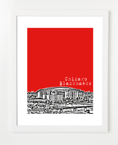 Chicago Blackhawks Skyline Art Print and Poster | By BirdAve Posters