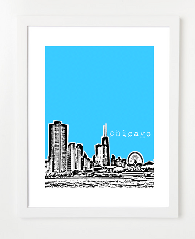 Chicago Illinois VERSION 1 Skyline Art Print and Poster | By BirdAve Posters