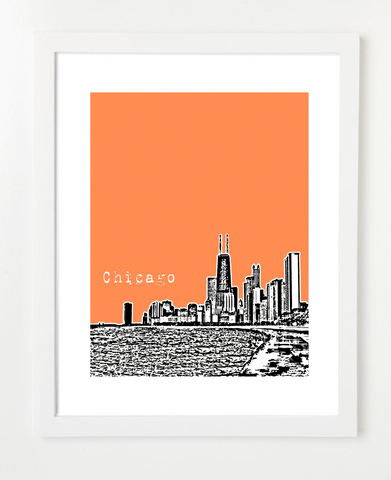 Chicago Illinois VERSION 2 Skyline Art Print and Poster | By BirdAve Posters