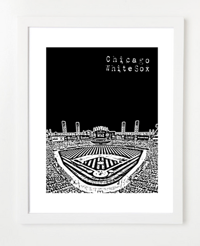 Chicago White Sox US Cellular Field Skyline Art Print and Poster | By BirdAve Posters