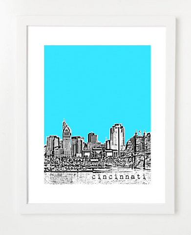Cincinnati Ohio VERSION 1 Skyline Art Print and Poster | By BirdAve Posters