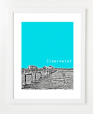 Clearwater Florida USA Skyline Art Print and Poster | By BirdAve Posters