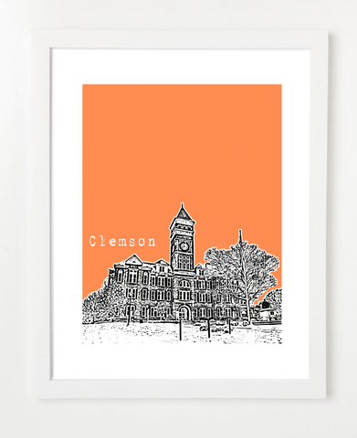 Clemson South Carolina Clemson University Skyline Art Print and Poster | By BirdAve Posters