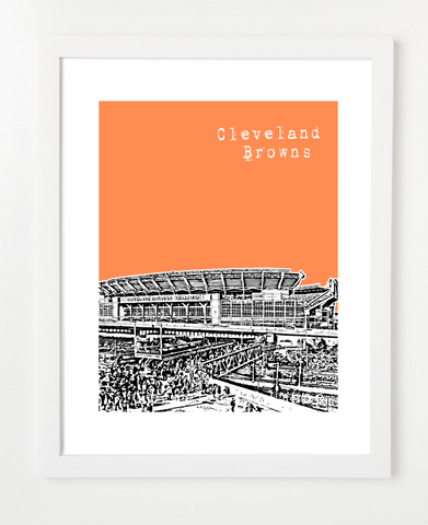 Cleveland Browns Stadium Skyline Art Print and Poster | By BirdAve Posters
