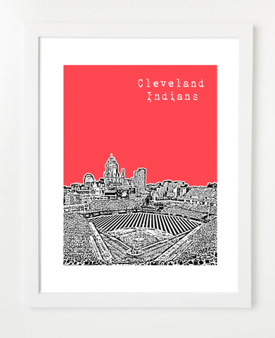 Cleveland Indians Progressive Field Skyline Art Print and Poster | By BirdAve Posters