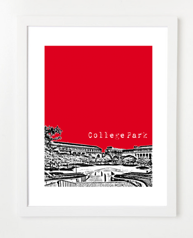 College Park Maryland University of Maryland Skyline Art Print and Poster | By BirdAve Posters