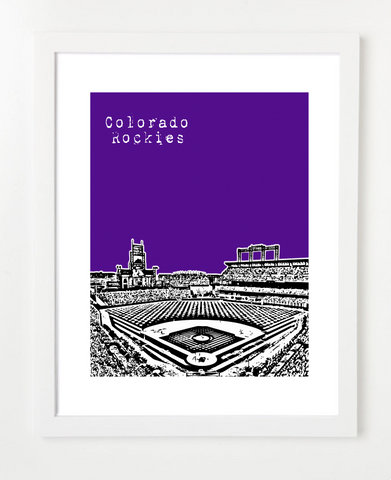 Colorado Rockies Coors Field Skyline Art Print and Poster | By BirdAve Posters