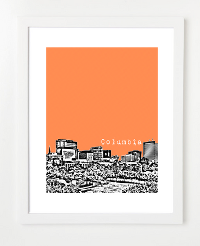 Columbia South Carolina Skyline Art Print and Poster | By BirdAve Posters