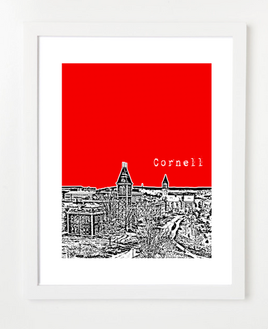 Cornell University Ithaca New York Skyline Art Print and Poster | By BirdAve Posters