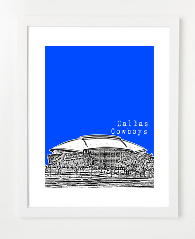 Arlington Texas Cowboys Stadium Skyline Art Print and Poster | By BirdAve Posters