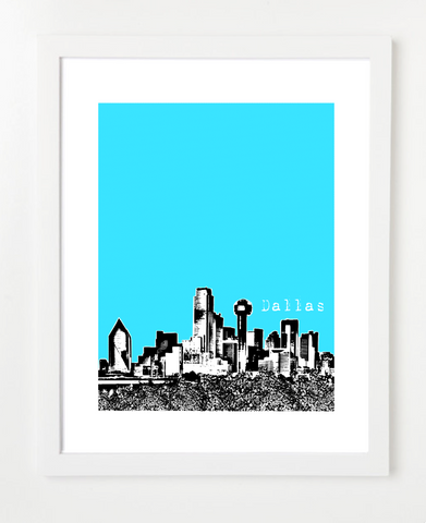 Dallas Texas Downtown Skyline Art Print and Poster | By BirdAve Posters