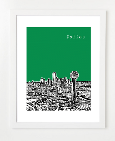Dallas Texas Reunion Tower Skyline Art Print and Poster | By BirdAve Posters