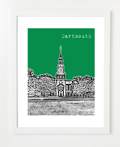 Hanover New Hampshire Dartmouth College Skyline Art Print and Poster | By BirdAve Posters