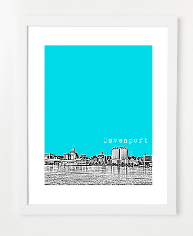 Davenport Iowa Skyline Art Print and Poster | By BirdAve Posters