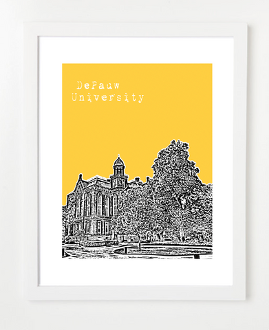 DePauw University Greencastle Indiana Skyline Art Print and Poster | By BirdAve Posters