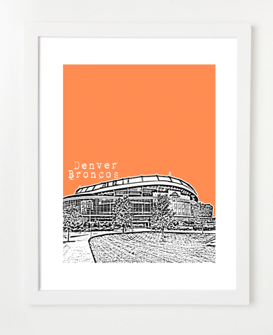 Denver Broncos Sports Authority Field Skyline Art Print and Poster | By BirdAve Posters