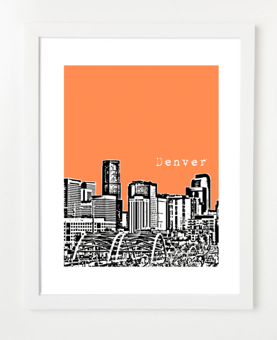 Denver Colorado USA Skyline Art Print and Poster | By BirdAve Posters