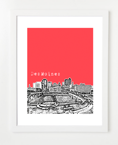 Des Moines Iowa Skyline Art Print and Poster | By BirdAve Posters