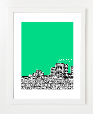Destin Florida Skyline Art Print and Poster | By BirdAve Posters