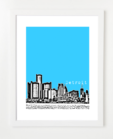 Detroit Michigan Skyline Art Print and Poster | By BirdAve Posters