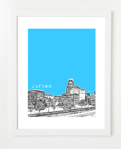 Durham North Carolina Skyline Art Print and Poster | By BirdAve Posters