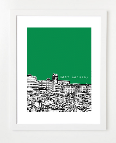 East Lansing Michigan  Poster - Michigan State UniversitySkyline Art Print and Poster | By BirdAve Posters