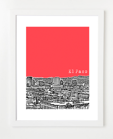 El Paso Texas Skyline Art Print and Poster | By BirdAve Posters