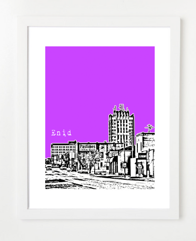 Enid Oklahoma Skyline Art Print and Poster | By BirdAve Posters