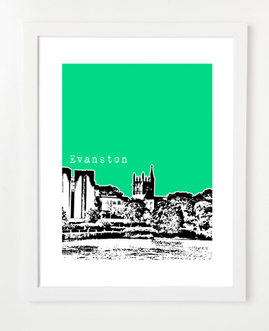 Evanston Illinois Northwestern University Skyline Art Print and Poster | By BirdAve Posters