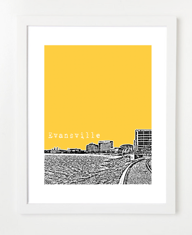 Evansville Indiana VERSION 1 Skyline Art Print and Poster | By BirdAve Posters