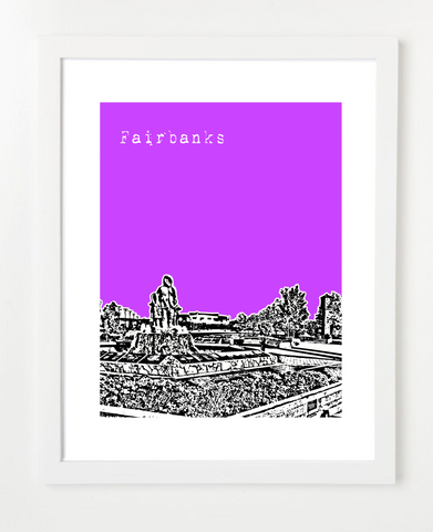 Fairbanks Alaska USA Skyline Art Print and Poster | By BirdAve Posters