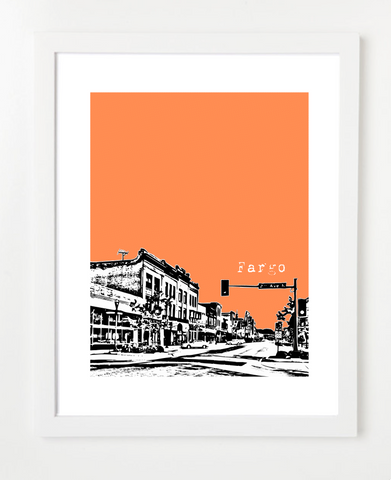 Fargo North Dakota Skyline Art Print and Poster | By BirdAve Posters