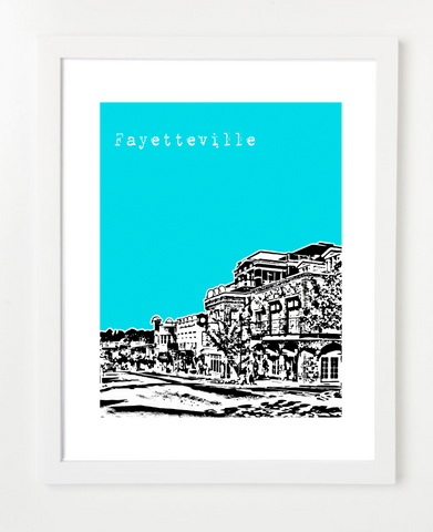 Fayetteville Arkansas USA Downtown Skyline Art Print and Poster | By BirdAve Posters