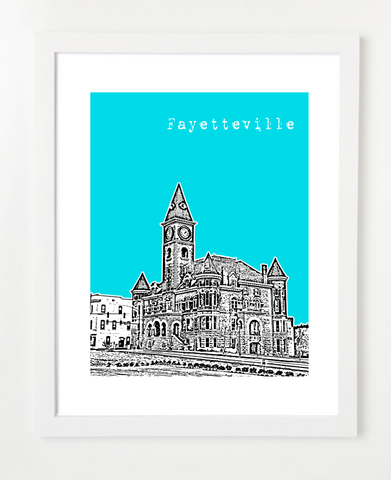 Fayetteville Arkansas Old Post Office Skyline Art Print and Poster | By BirdAve Posters