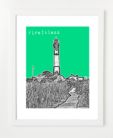 Fire Island, New York Poster by BirdAve. Hundreds of modern city prints available. Great for gift giving!  Fast delivery and personalized service.