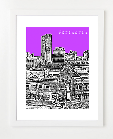 Fort Worth Texas Skyline Art Print and Poster | By BirdAve Posters