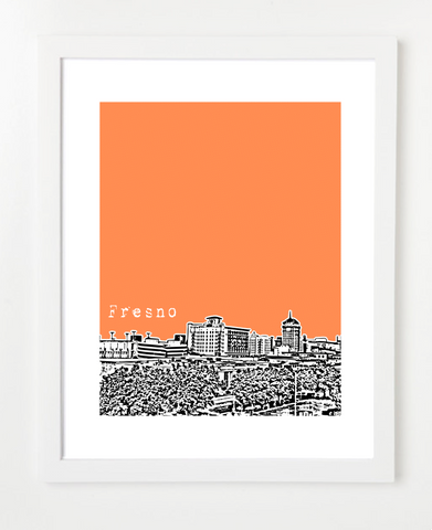 Fresno California USA Skyline Art Print and Poster | By BirdAve Posters