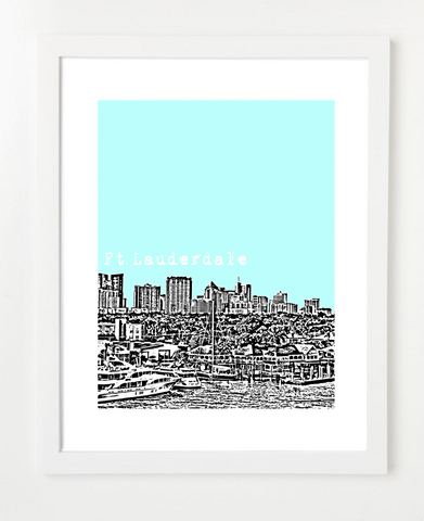 Fort Lauderdale Florida Skyline Art Print and Poster | By BirdAve Posters