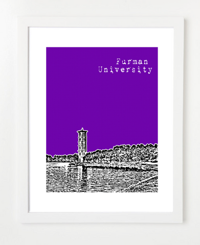 Greenville South Carolina Furman University Skyline Art Print and Poster | By BirdAve Posters