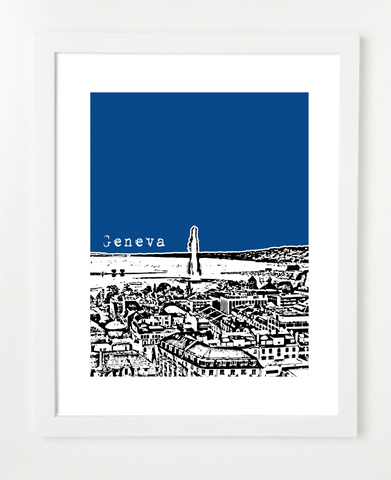 Geneva Switzerland Europe Posters and Skyline Art Prints | By BirdAve