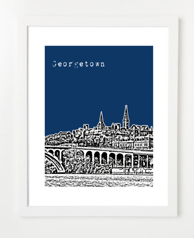 Georgetown Washington DC Georgetown University Hoyas Skyline Art Print and Poster | By BirdAve Posters