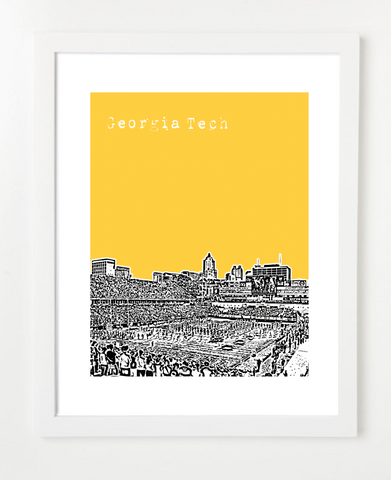 Georgia Tech Yellow Jackets Football Bobby Dood Stadium Skyline Art Print and Poster | By BirdAve Posters