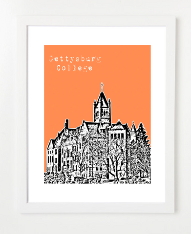 Gettysburg Pennsylvania Gettysburg College Skyline Art Print and Poster | By BirdAve Posters