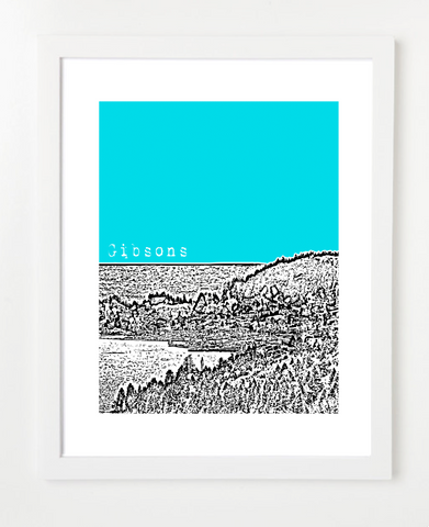Gibsons British Columbia Canada VERSION 2 Posters and Skyline Art Prints | By BirdAve Posters