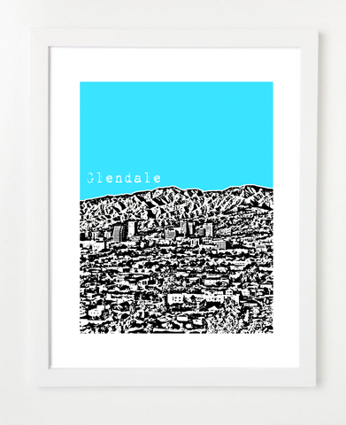 Glendale California USA Skyline Art Print and Poster | By BirdAve Posters