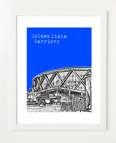 Golden State Warriors Oracle Arena Skyline Art Print and Poster | By BirdAve Posters