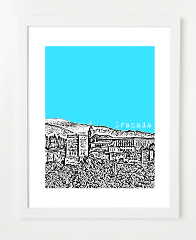 Granada Spain Europe Posters and Skyline Art Prints | By BirdAve